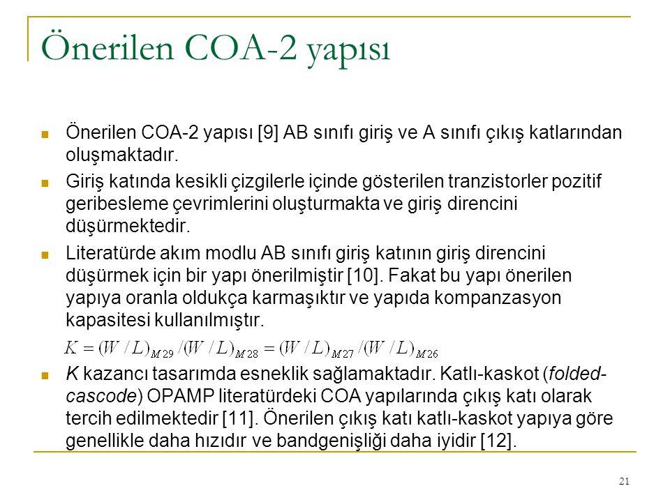 Önerilen COA-2 yapısı Önerilen COA-2 yapısı [9] AB sınıfı giriş ve A sınıfı çıkış katlarından oluşmaktadır.